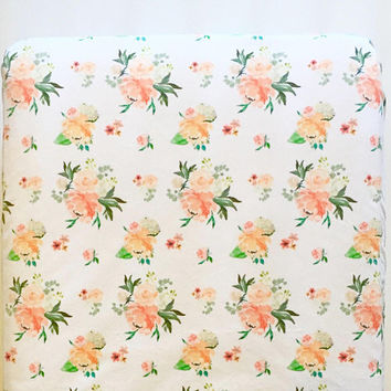 Spring florals fitted crib sheet - floral baby bedding - minky peach coral - flower watercolor peony rose hydrangea - girl baby shower gift