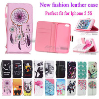 Colourful Case For IPHON 5 Book Style Wallet PU Leather Cover Case For iPhone 5S 5SE phone case with card holder for iPhone 5 se