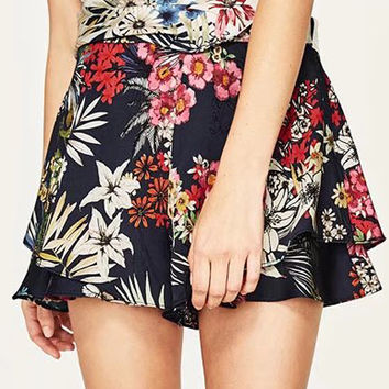 Polychrome Floral Layered Shorts