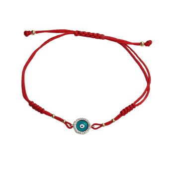 Enamel Evil Eye Red Cord Bracelet