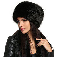 Zeogoo Women Winter Faux Fur Russian Cossack Style Hat Headband Ear Warmer (One Size, Black(FBA))