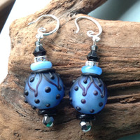 Beaded Dangle Earrings  Lampwork Beads Blue & Black