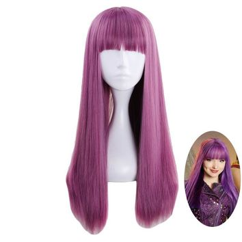 Cool Descendants 2 Mal Purple Mix Wig Cosplay Costume Women Long Straight Heat Resistant Synthetic Hair Party Role Play WigsAT_93_12