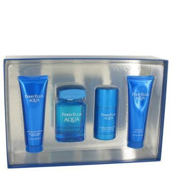 Perry Ellis Aqua by Perry Ellis Gift Set -- 3.4 oz Eau De Toilette Spray + 2.75 oz Deodorant Stick + 3 oz After Shave Gel + 3 oz Shower Gel (Men)