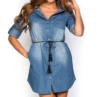 Laurel Blue Denim Shirt Dress with Sleeves
