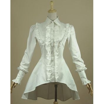 8eb4377a318303 Spring women white shirt Ruffled Vintage Victorian shirts Ladies