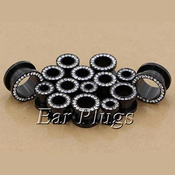 2pcs stainless steel anodized black screw flesh tunnel ear plug gauges body piercing jewelry PSP0004