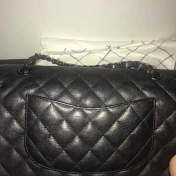 Auth 2017 Chanel Classic Double Flap So Black Crumpled Calfskin Bag - Sold Out - Beauty Ticks