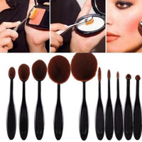 10PC/Set Toothbrush Eyebrow Foundation Eyeliner Lip Oval Brushes Gift