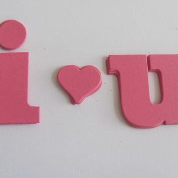 I Heart U Pink Paper Die Cuts, Set of 5 Tags, Scrapbooking,Valentines Day