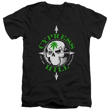 Cypress Hill Slim Fit V-Neck T-Shirt Skull and Arrows Black Tee