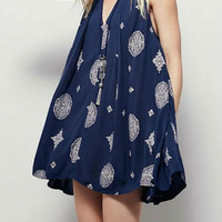 Sleeveless Tribe Print Cut Out Swing Dress