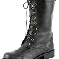 Lug 11 Womens Military Lace up Combat Boot,10 B(M) US,Premium Black