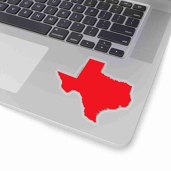 Texas State Shape Sticker RED