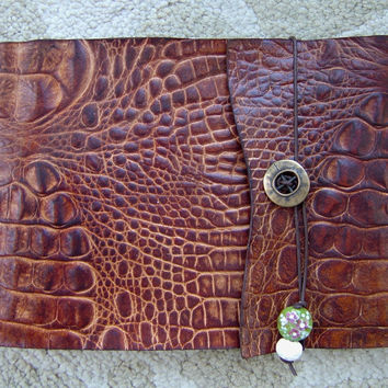 Refillable Alligator Embossed Leather Sketchbook - Milk Chocolate, Journal, Notebook, Note Pad, Drawing Pad