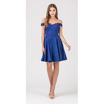 Off-Shoulder Short Homecoming Party Dress Royal Blue