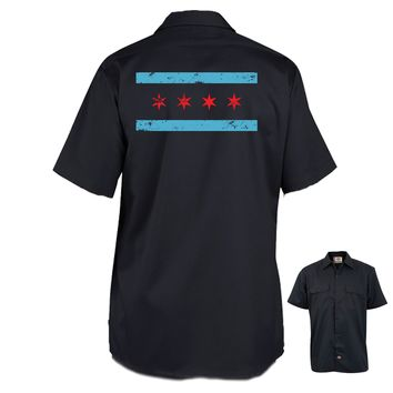 The Alley Distressed Chicago Flag Work Shirt