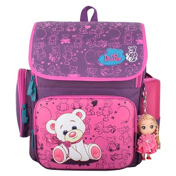 Russia Style Children School Bags Waterproof Orthopedic Backpack Cute Bear Beautiful Princess Girls Backpacks Kid Bag