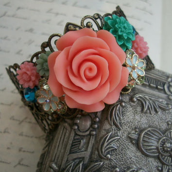 Romantic Collage Cuff in Dreamy Pastels - OPHELIA