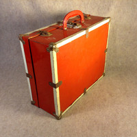 Roller Skates Vintage Red Carry Case - Metal Outside - Wood Inside - Case, Tote, Box, for Roller Skates