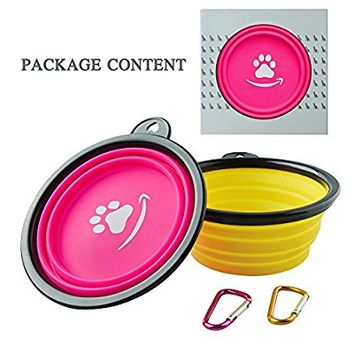 Collapsible Dog Bowl,Food Grade Silicone,BPA Free FDA Approved ,Foldable Expandable Cup Dish for Pet Dog/Cat Food and Water Feeding Travel Bowl Free Carabiner