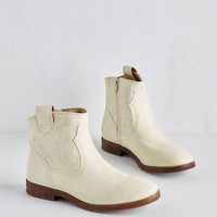 What's the Gig Idea? Bootie in Ivory | Mod Retro Vintage Boots | ModCloth.com