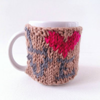 Love Sign Coffee Cozy – Knit Cozy - Knit Heart Cozy – Coffee Holder - Romantic Gift for Him – Love Sign Gift – Love Cozy - Pink Heart Cozy