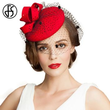 FS Fashion Wedding Dress Hats For Women Wool Pillbox Hat With Veils Fedora Red Ladies Vintage Hats