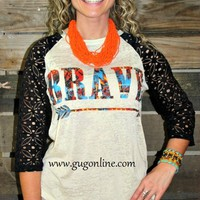 Brave Aztec Taupe Baseball Tee Burnout with Black Crotchet Sleeves
