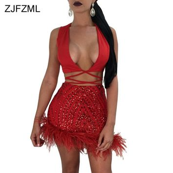 ZJFZML Feather Bottom Sexy Two Piece Dress Women Red Shiny Sequined Party Dress Black Deep V-Neck Sleeveless Lace Up Mini Dress