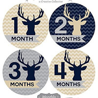 12 Monthly Baby Stickers, Boy, Deer, Antlers, Baby Belly Stickers, Baby Month Stickers, First Year Stickers Months 1-12, Chevron, Tan, Beige, Taupe, Blue, Navy, Gray, Grey, Woodland, Baby Boy