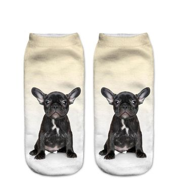 Black French BullDog Puppy Animal Women Socks Funny Crazy Cool Novelty Cute Fun Funky Colorful