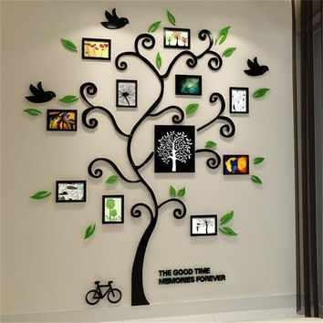 2016 New 11pcs Photo Frame Tree Acrylic 3d Three Dimensional Wall Stickers Tv Sofa Home Decorative Diy Crystal Decal Family Tree