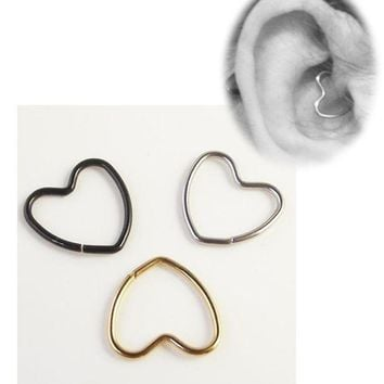 ac DCCKO2Q 16G Heart Shape Earring Nose Ring Tragus Piercing Labret Titanium Hollow Heart Closure Daith Cartilage