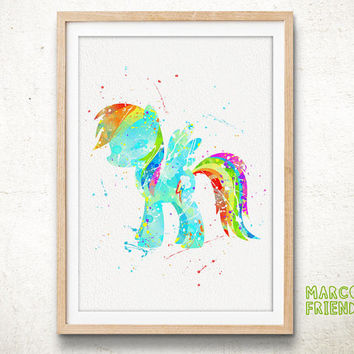 Pony Rainbow Dash - Watercolor Art Print, Room Decor, My Little Pony Poster, Home Baby Nursery Wall Art