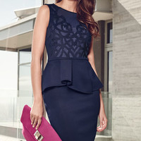 Navy Blue Carving Lace with Back Keyhole Peplum Dress