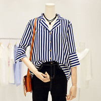 Woherb Female Loose Blouses 2017 Summer Sexy V-collar Tops Flare Sleeves Stripe Shirt Woman Work Wear Tops Clothing 33103