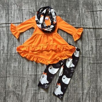 baby girls FALL/Winter Halloween skull 3pieces scarf black orange dress top pant sets cotton print boutique children clothes