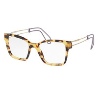 Miu Miu Open-Inset Square Optical Frames, Light Havana
