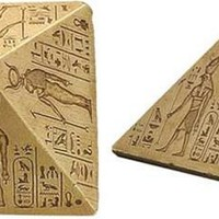 Desktop Pyramid with Hieroglyphs and Deities, Statue or Paperweight 4H