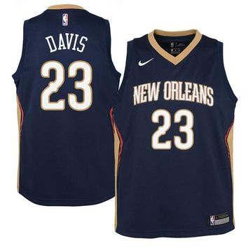 Youth New Orleans Pelicans Anthony Davis Nike Navy Swingman Jersey - Icon Edition