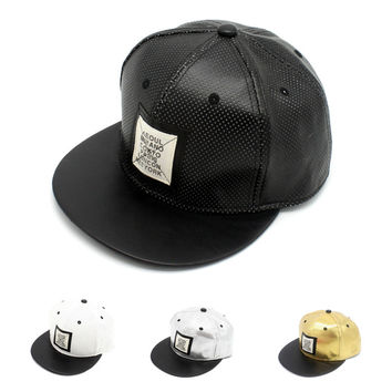 Korean Leather Hip-hop Baseball Cap Ladies Casual Hats [4917729796]