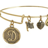"Alex and Ani style  letter ""D"" pattern pendant charm bracelet,a perfect gift !"