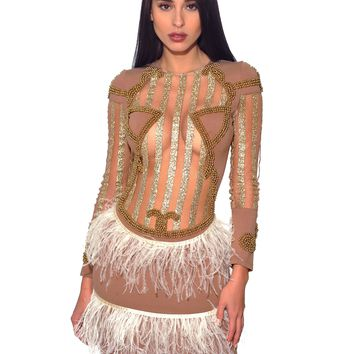 Octavia Beige Feather Skirt Sheer Long Sleeve Dress (Limited Edition)