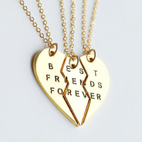 gold best friends necklace, best friend forever necklace jewrlry, broken heart set, friendship necklace, Christmas gift, 3 necklaces set