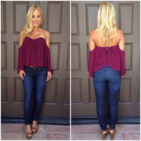Cascading Off Shoulder Blouse - PLUM