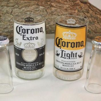Unique Glassware Upcycled from Corona and Corona Light Beer Bottles, Shot Glass, Drinking Glass