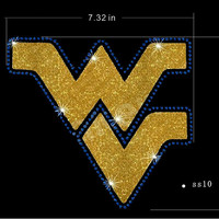 Ships in ONE day! West Virginia Rhinestone decal wvu Bling, Mountaineers bling, WVU Mountaineers shirt decal,DIY Bling Mountaineers Football