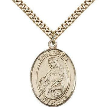 "Saint Agnes Of Rome Medal For Men - Gold Filled Necklace On 24"" Chain - 30 Da... 617759380927"