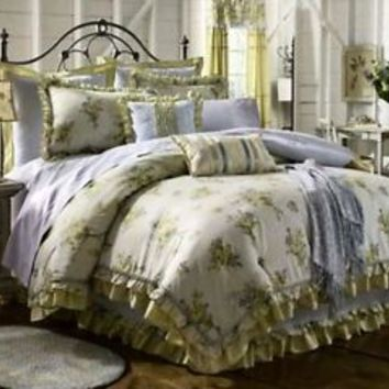 King Size Comforter Mary Jane's Farm Posy Chic Bedspread Bedding Ruffle Yellow